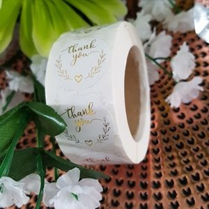 500 pcs White Gold Foil Thank You Stickers